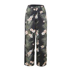 Flower Printing Chiffon Broad Leg Trousers -