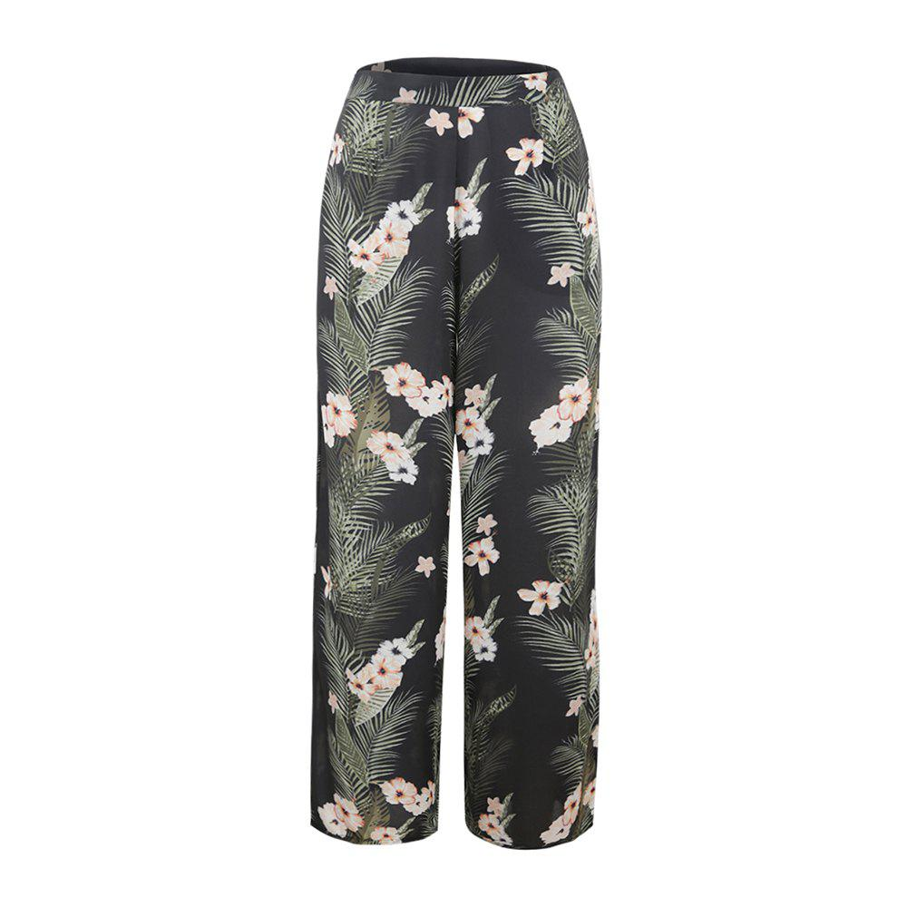 Unique Flower Printing Chiffon Broad Leg Trousers