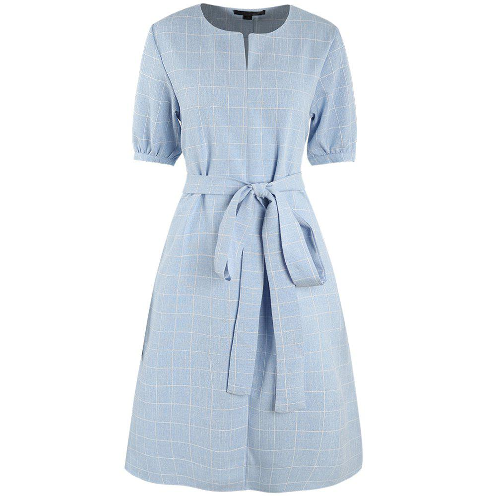 New Light Blue Checkered Sleeves Loose Waist Tie Dress