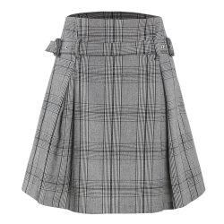 Vintage Plaid Flower Waist Thin A-Line Skirt -