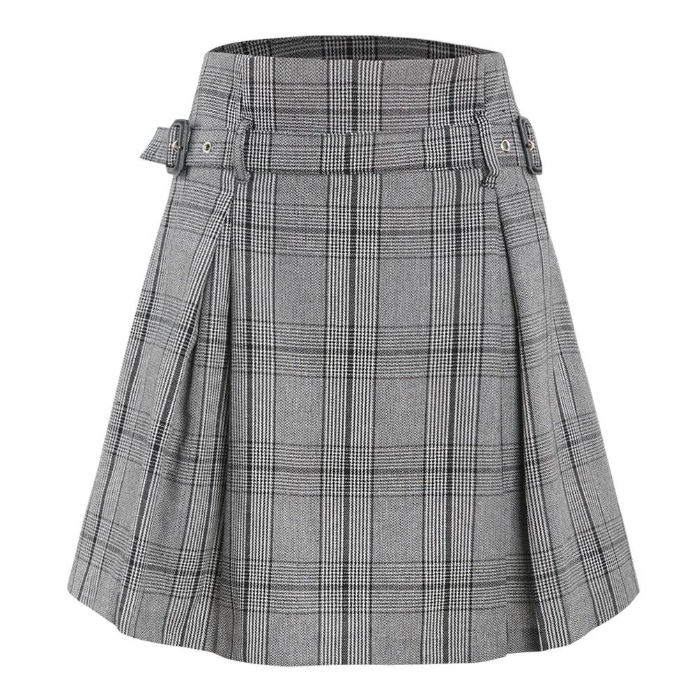 Affordable Vintage Plaid Flower Waist Thin A-Line Skirt