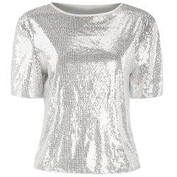Short Sleeve Shiny Sequins Sexy Perspective Top -