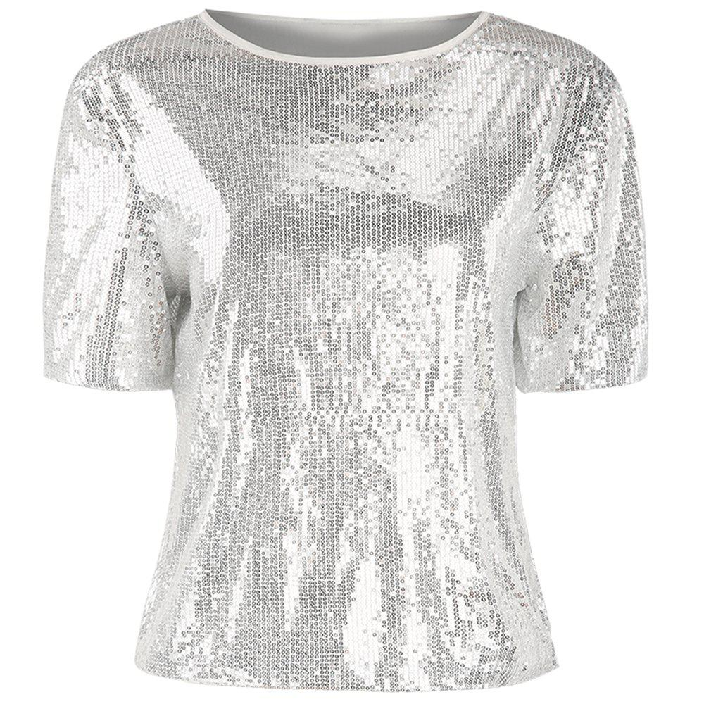 New Short Sleeve Shiny Sequins Sexy Perspective Top