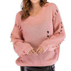 Pull ample col rond femme à manches longues -