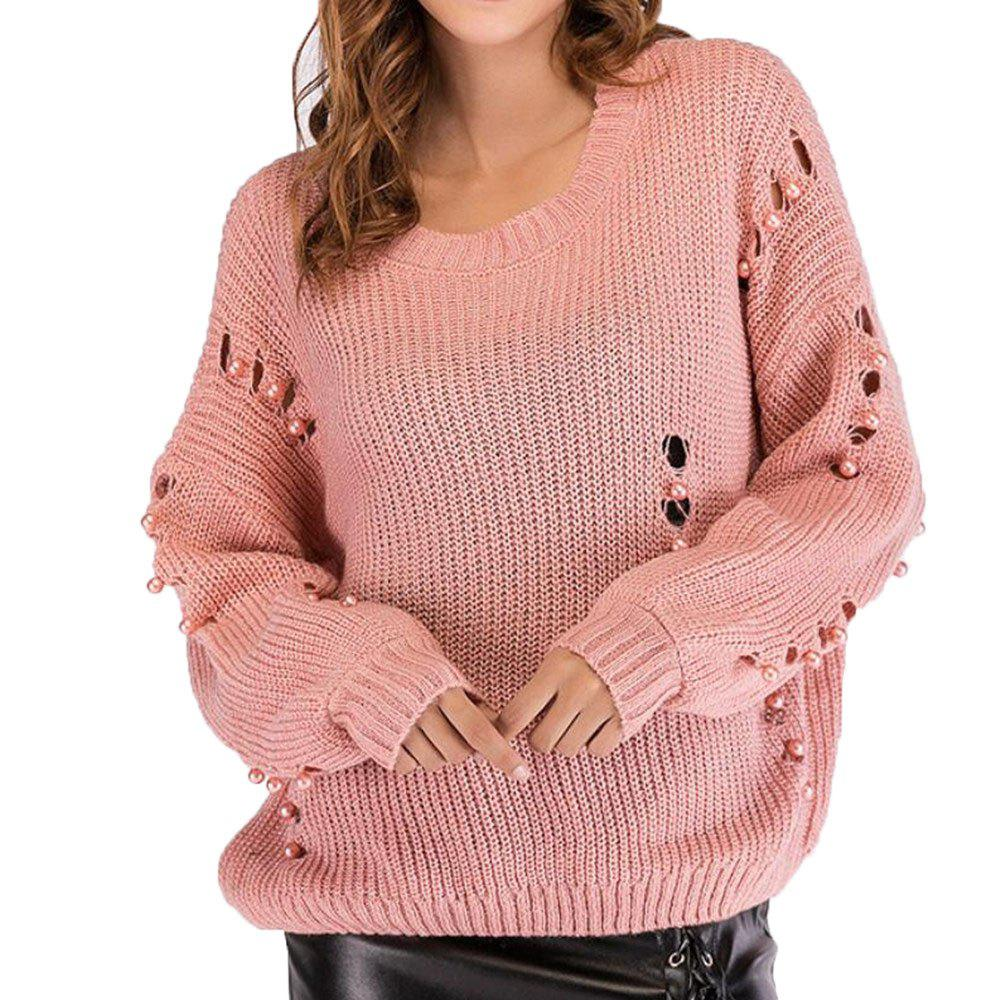Pull ample col rond femme à manches longues