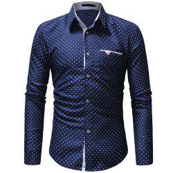 Men's Five-Pointed Star Print Casual Slim Long-Sleeved Shirt -