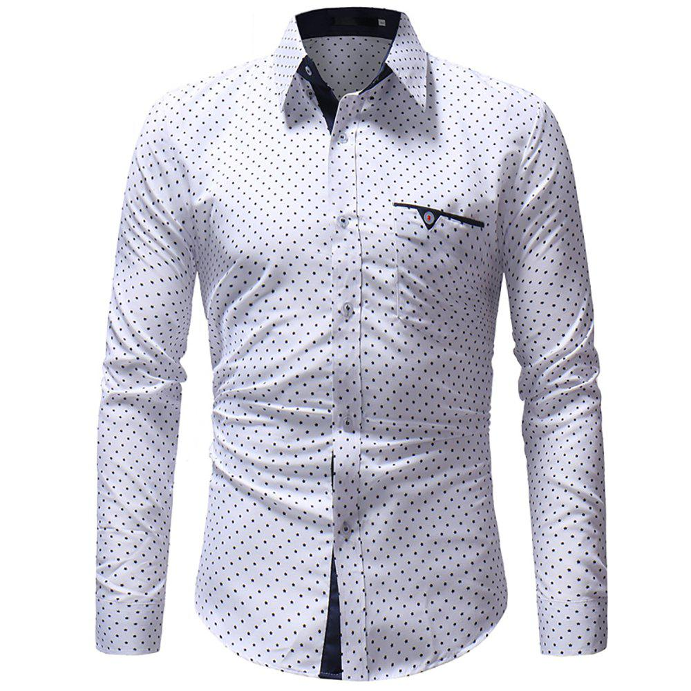 Sale Men's Five-Pointed Star Print Casual Slim Long-Sleeved Shirt