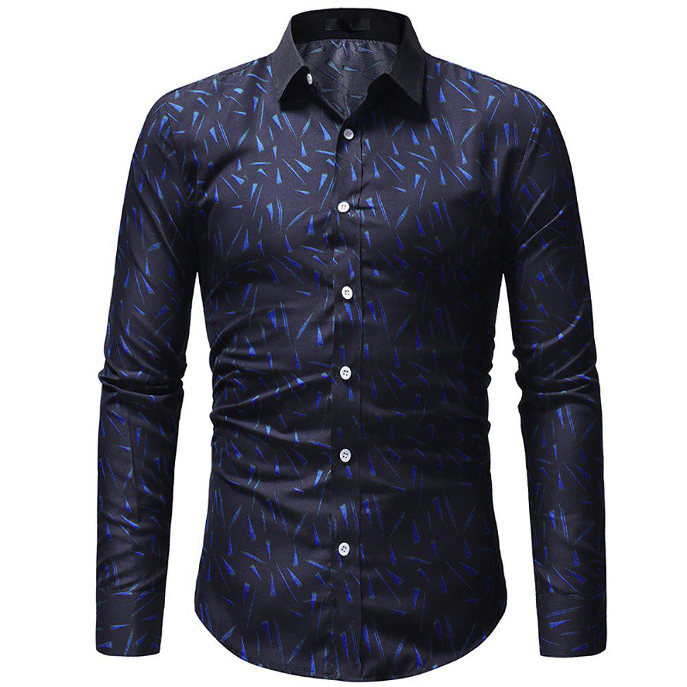 Fashion Men's Print Series Casual Slim Long Sleeve Print Shirt
