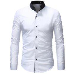Men's Contrast Stand Collar Casual Slim Long Sleeve Solid Color Shirt -