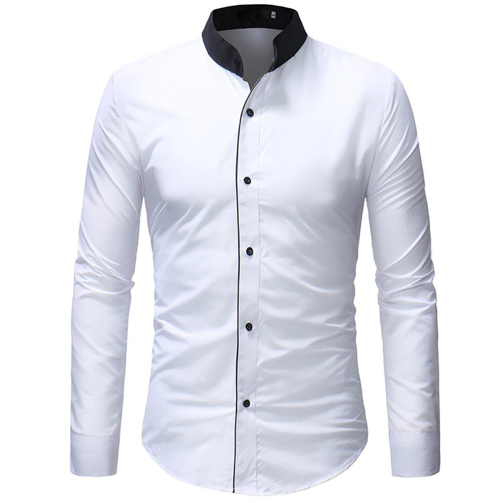 Online Men's Contrast Stand Collar Casual Slim Long Sleeve Solid Color Shirt