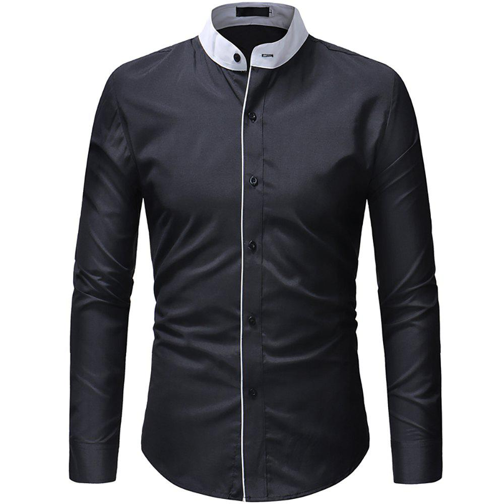 Chic Men's Contrast Stand Collar Casual Slim Long Sleeve Solid Color Shirt