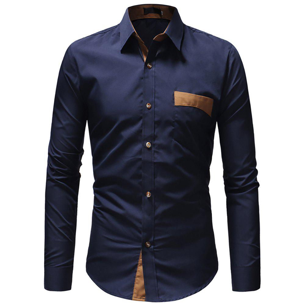Outfit Stick Pocket Color Matching Casual Slim Long-sleeved Shirt