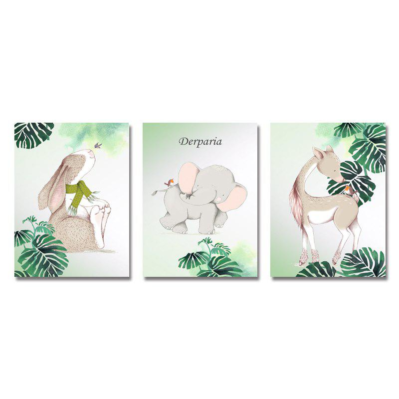 DYC 3PCS Lovely Central Animals Print Art