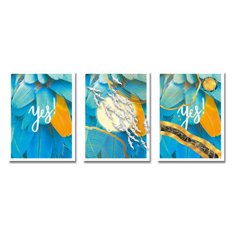 DYC 3PCS Blue Feather Print Art