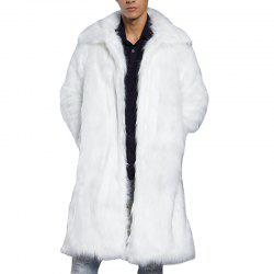 Men Faux Fur Coat Overcoat Turndown Collar Long Sleeve Winter Coat -