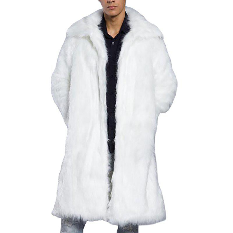 Best Men Faux Fur Coat Overcoat Turndown Collar Long Sleeve Winter Coat