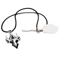 Men's Silver Personality Trend Triangle Badge Pendant Alloy Necklace -