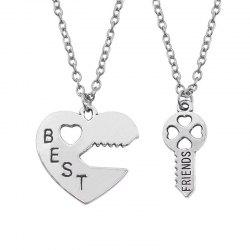 Best Friend Letter Peach Heart and Key Pendant Alloy Couple Necklace in Pairs -
