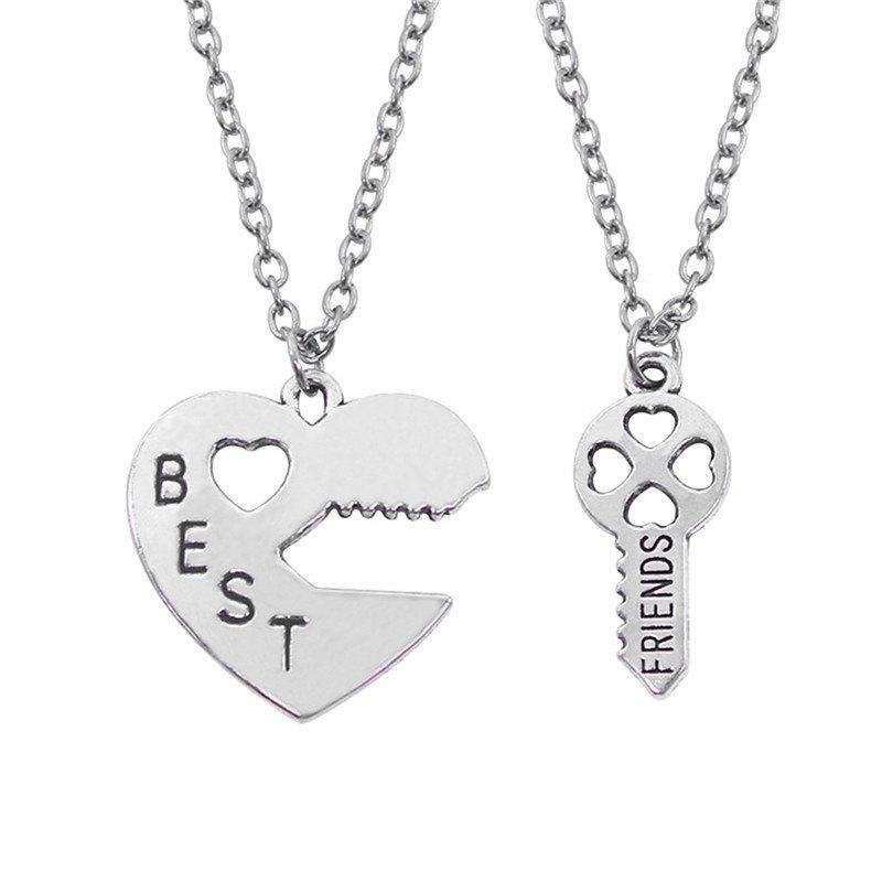 Buy Best Friend Letter Peach Heart and Key Pendant Alloy Couple Necklace in Pairs
