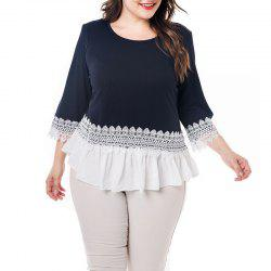 3/4 Length Sleeve Round Collar Splicing Lace T Shirt -