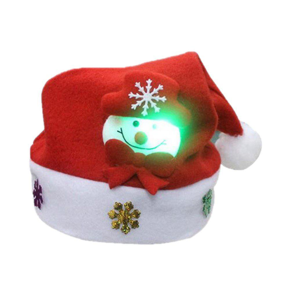 Discount Christmas Hat for Children and Adults Non-Woven Pleuche Snowman Hats with Light