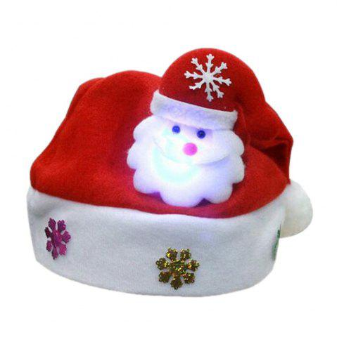 Christmas Hat for Kids and Adults Non-Woven Pleuche Santa Claus Hat with Lights