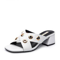 Louise et Cie Women's Open Toe Slippers Fashion Rivet Color Block Chic Shoes -
