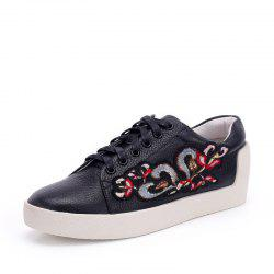Louise et Cie Women's Fashion Sneakers Color Block Embroidery Lace Up Shoes -