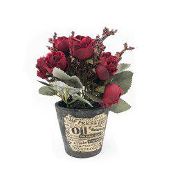 A Basin of Rose Office Greenery Decoration Artificial Flower Bonsai -