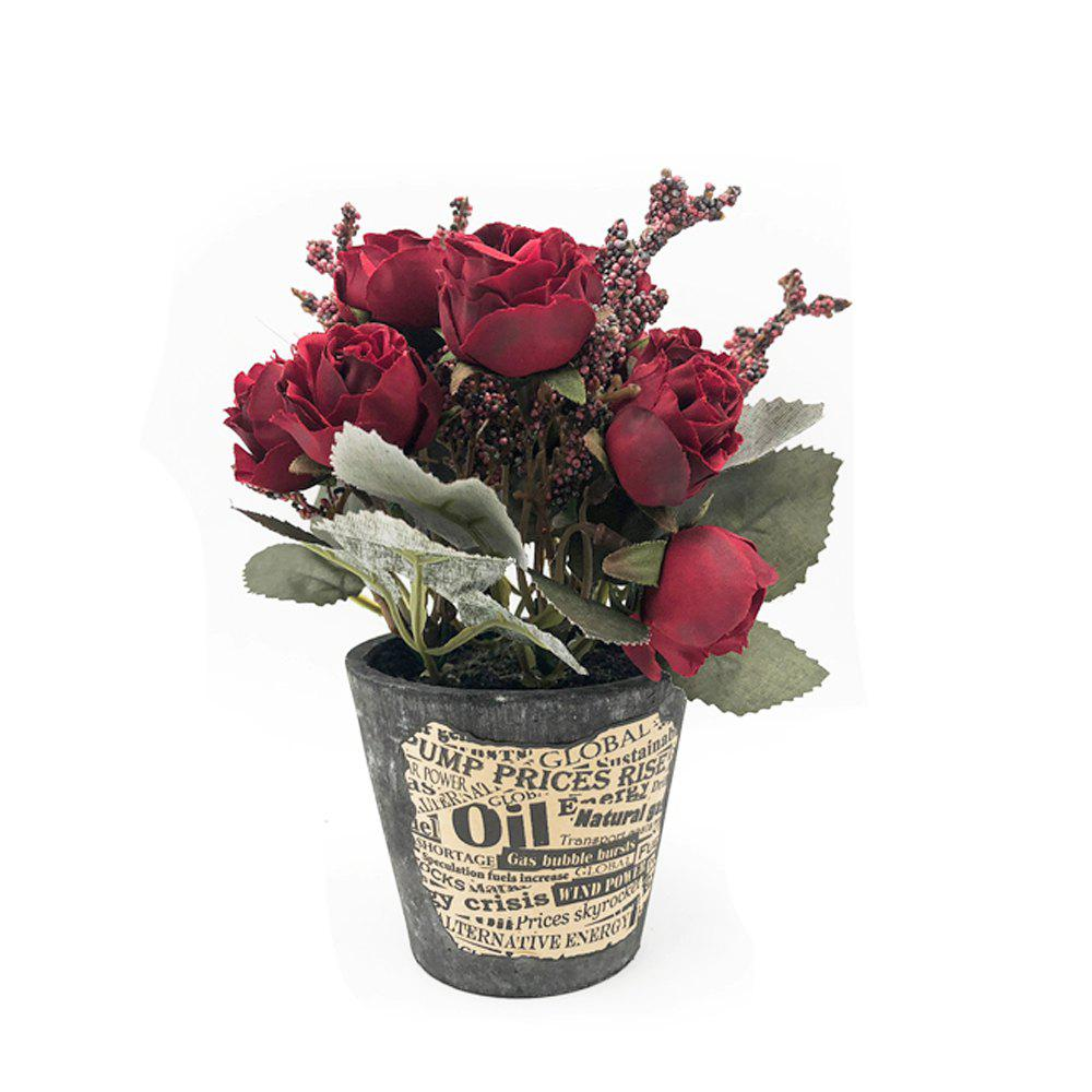 Sale A Basin of Rose Office Greenery Decoration Artificial Flower Bonsai
