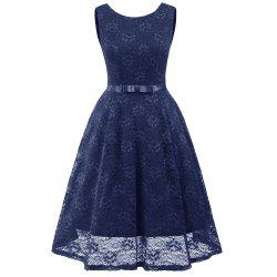 Lady Round Neck Sleeveless Lace Dress -