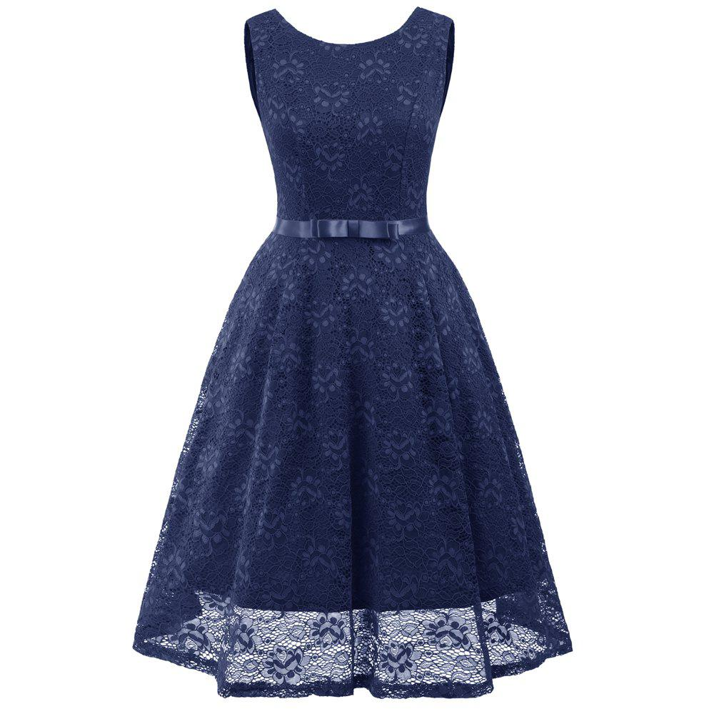 Trendy Lady Round Neck Sleeveless Lace Dress