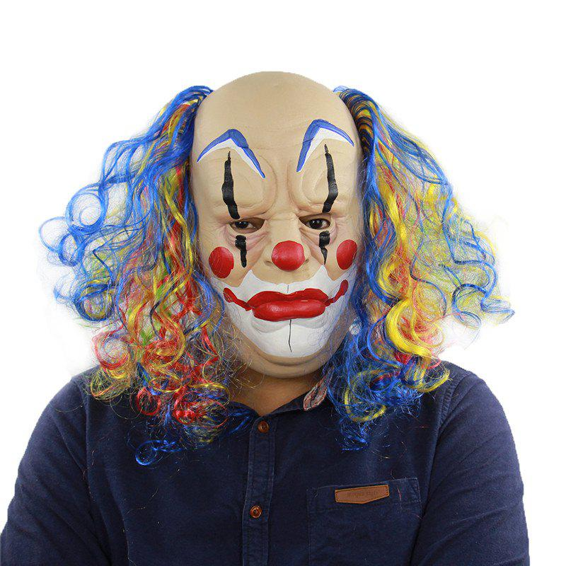 New Bald Curly Hair Clown Halloween Mask for Cosplay Party