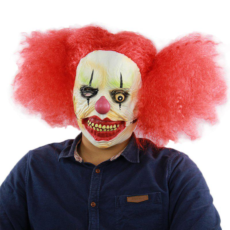 Masque de clown halloween horrible cheveux rouges pour le cosplay
