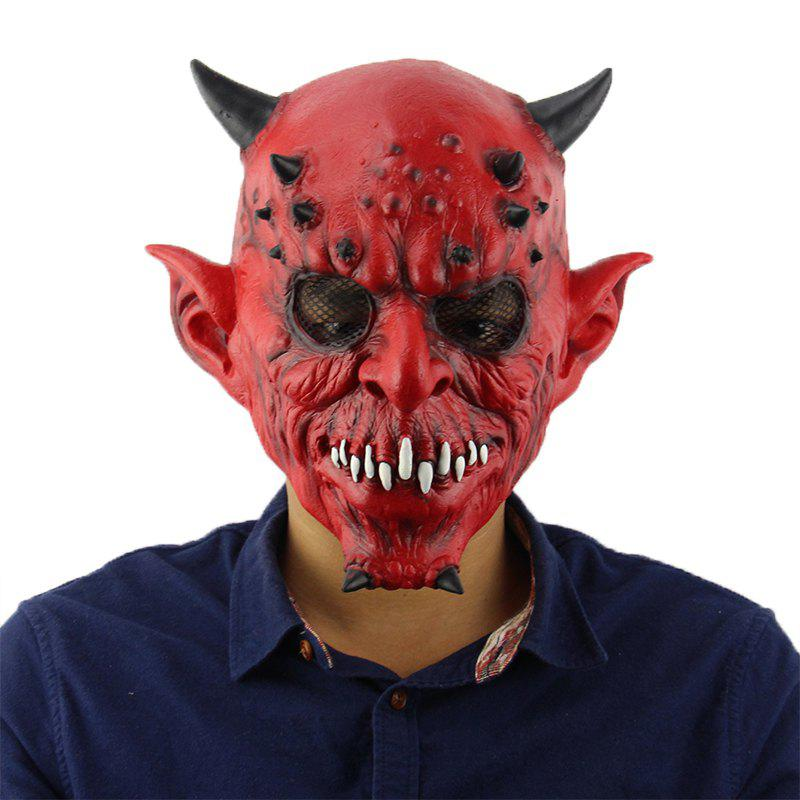 Affordable Horrible Red Horn Evil Halloween Mask for Masquerade Party