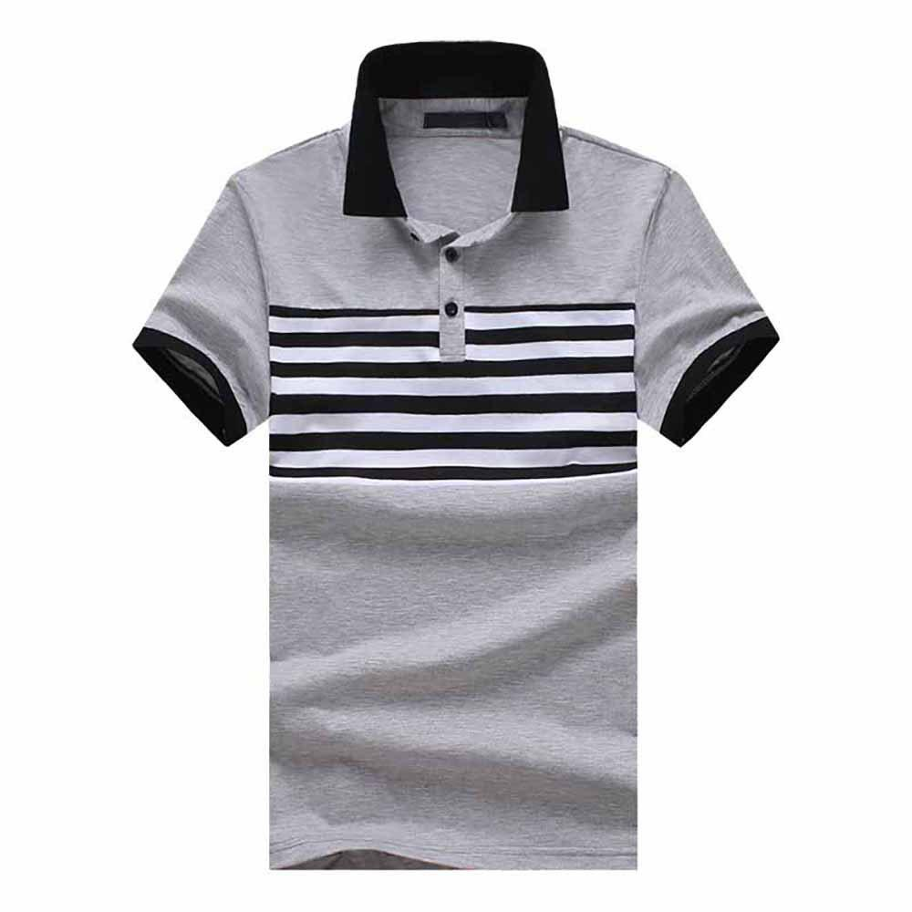 Affordable Men's Fashion Striped Tops Casual Slim Short Sleeve T-Shirt