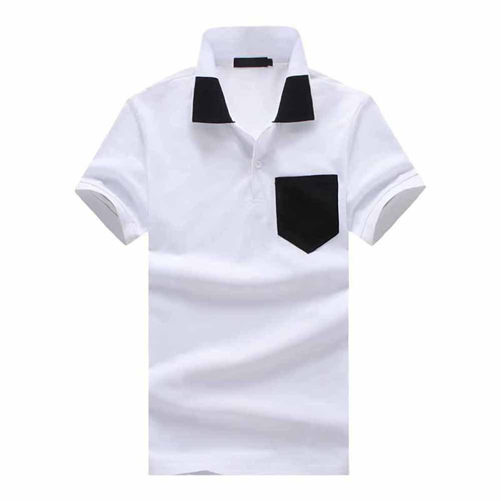 Shops Men's Fashion Luokou Color Matching Casual Large Size Short-Sleeved T-Shirt
