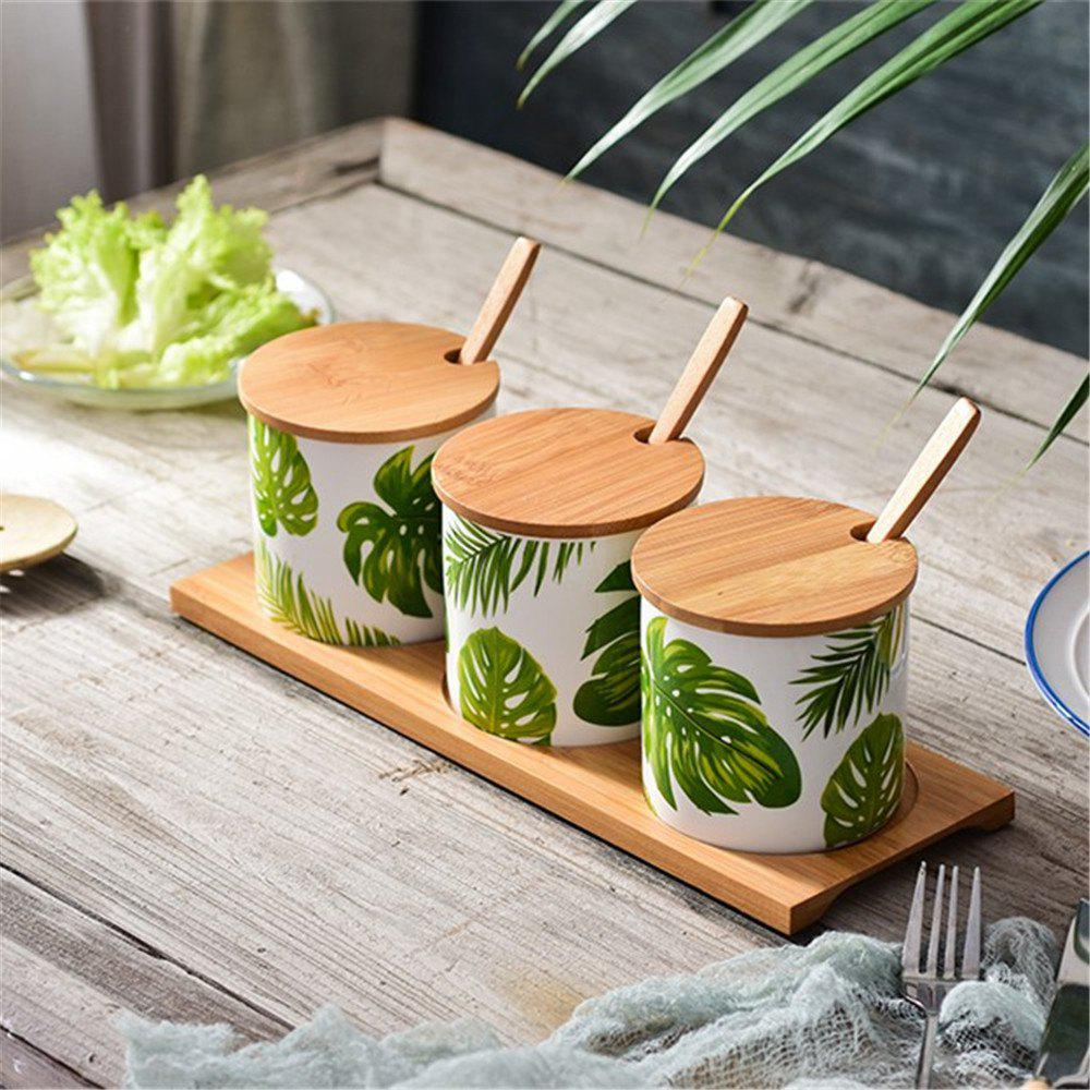 Керамические приправы Jars Set Nordic Style Leaf Pattern Condiment Containers