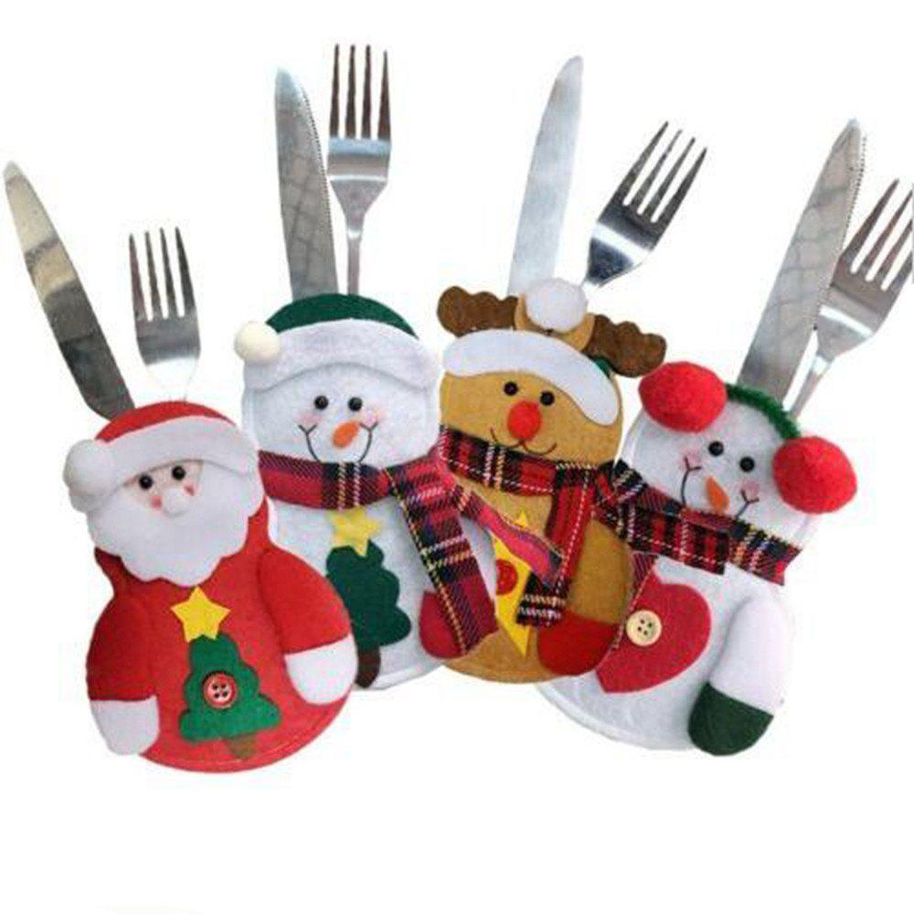 Outfit 4pcs Christmas Decoration Santa Claus Snowman Elk Knife and Fork Storage Bag