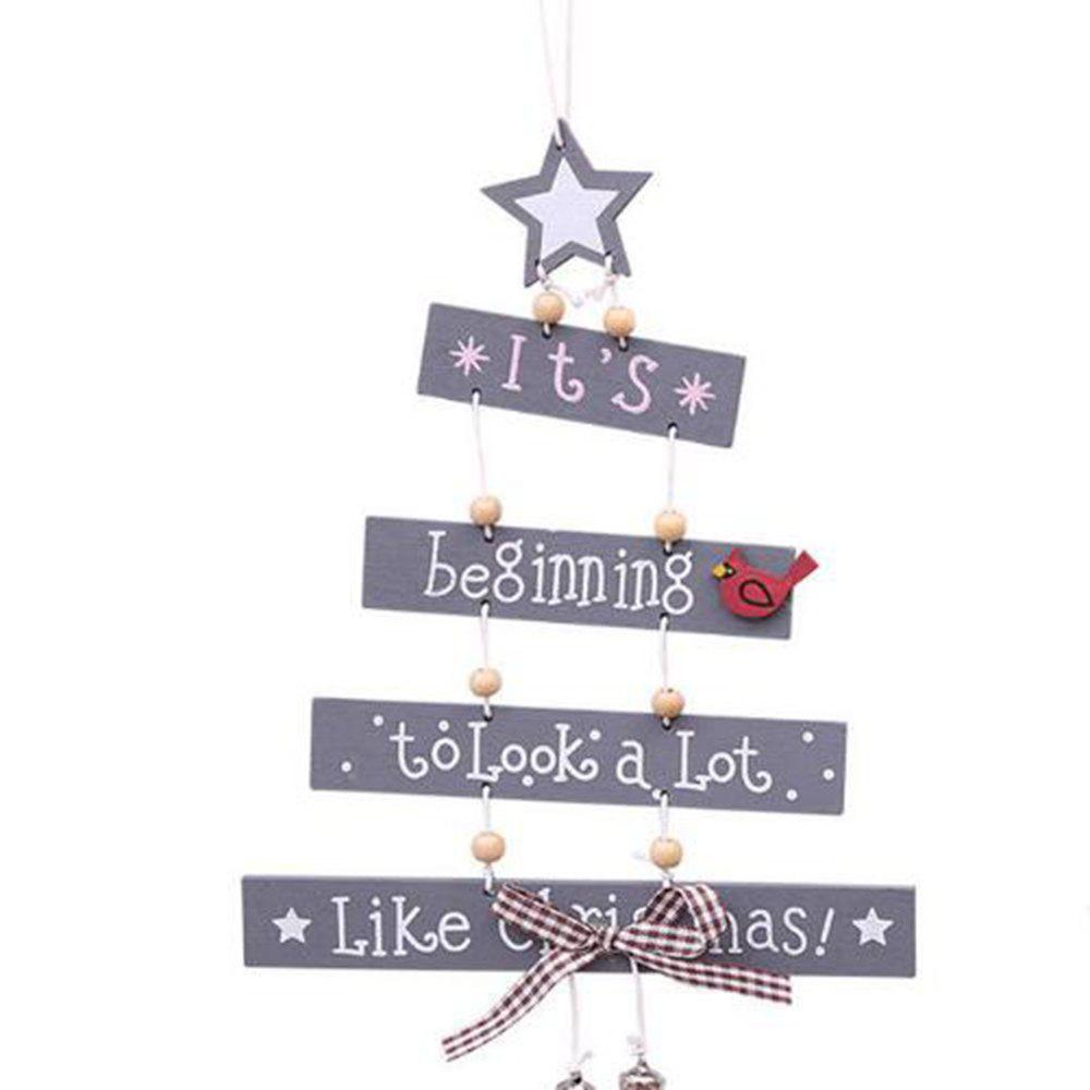 Discount Christmas Tree Letter Wooden Hanging Party Pendant Home Door Ornament Xmas Craft