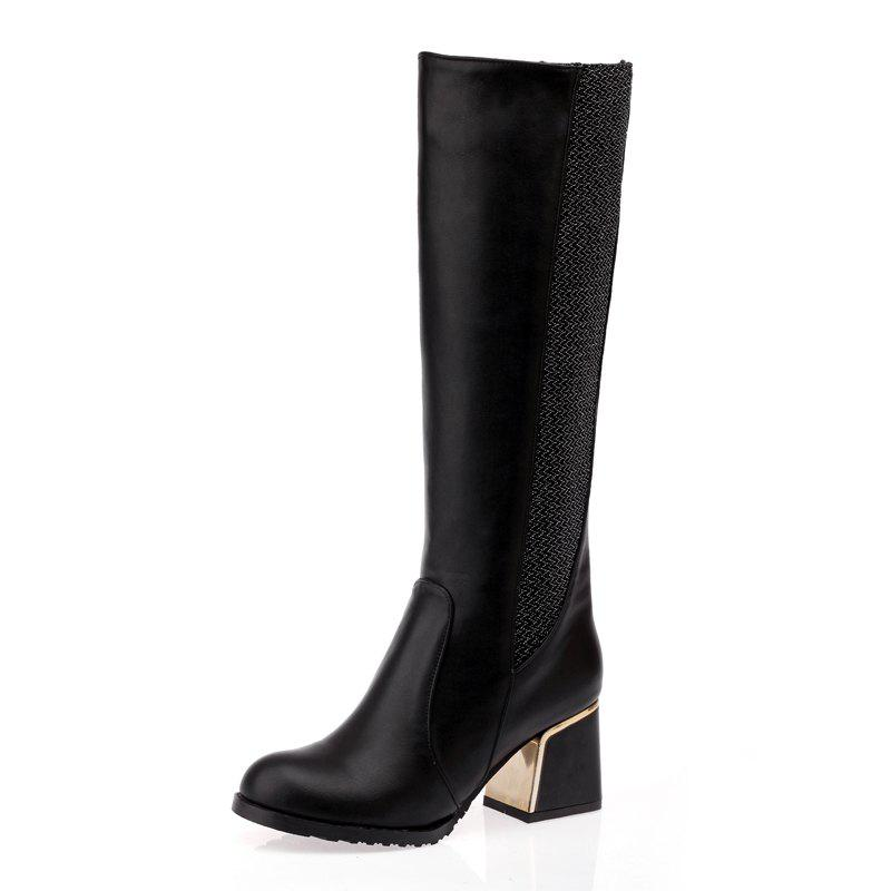 Trendy Thick Joint with Color Warmth Comfort Knee Boots