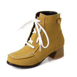 Casual Leather Boots with Medium Head Round Head Lace -