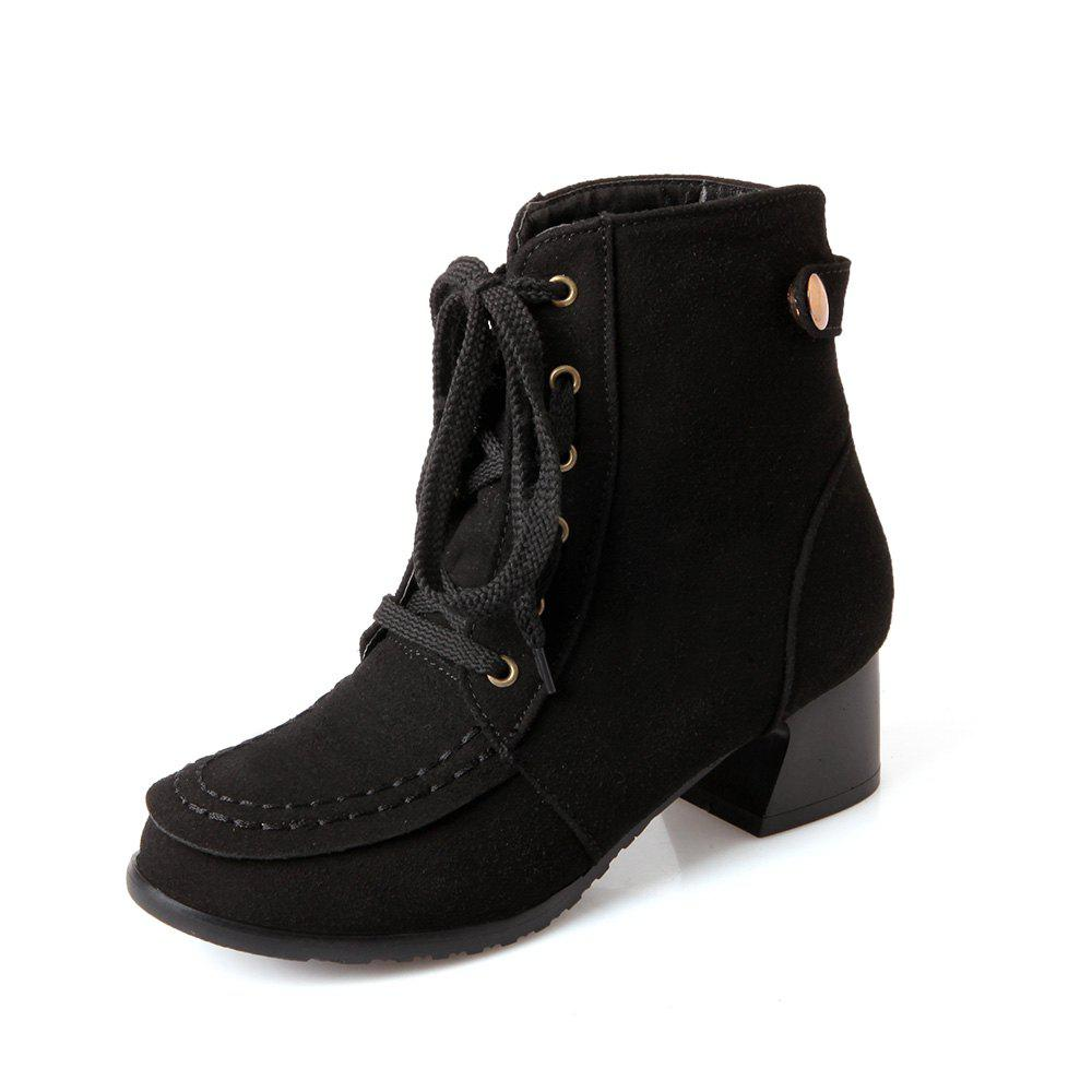 Discount Casual Leather Boots with Medium Head Round Head Lace