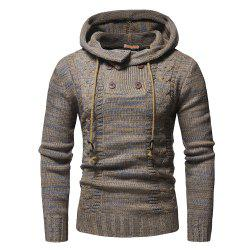 Men's Fashion Double Breasted Casual Slim Hooded Large Size Sweater -