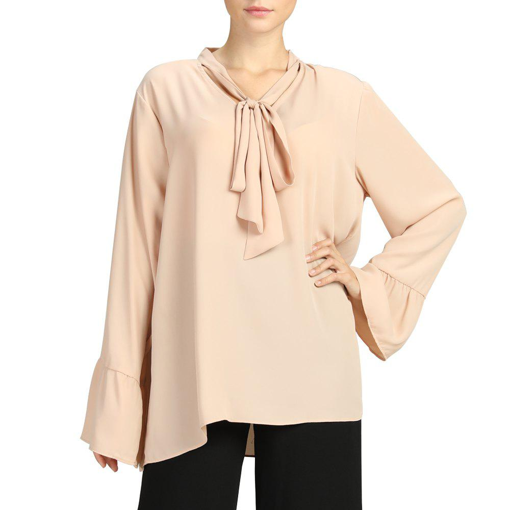 815973fb77172 SBETRO Female Chiffon Blouse Flare Sleeve Solid Loose Shirt with Neck Tie -  S