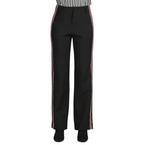 SBETRO A8607001 Zipper Female Trouser Striped Work Pant for Women