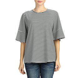 SBETRO Stiped T Shirt Black Whie Ruffle Bell Elbow Sleeve Crewneck -
