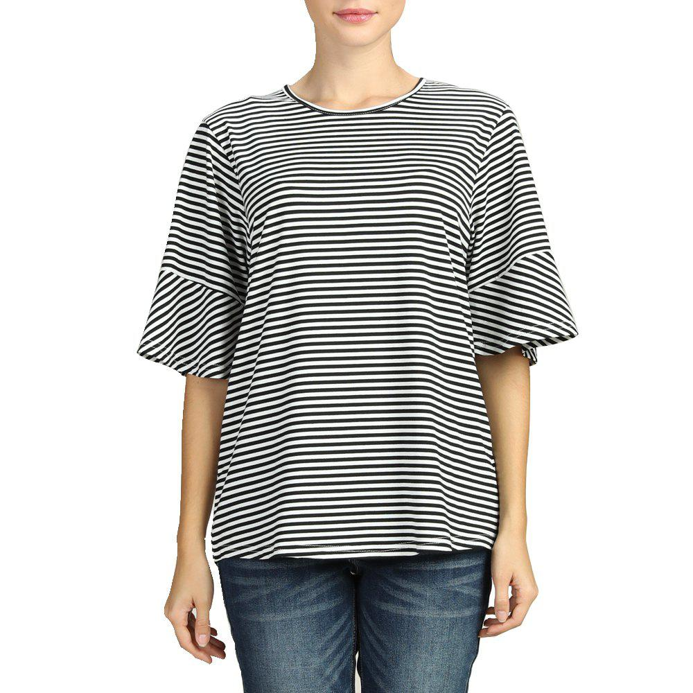 Shop SBETRO Stiped T Shirt Black Whie Ruffle Bell Elbow Sleeve Crewneck