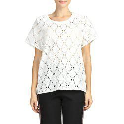 SBETRO Female Tunic Top White Lace Sheer Crewneck Ruffle Bell Short Sleeve -