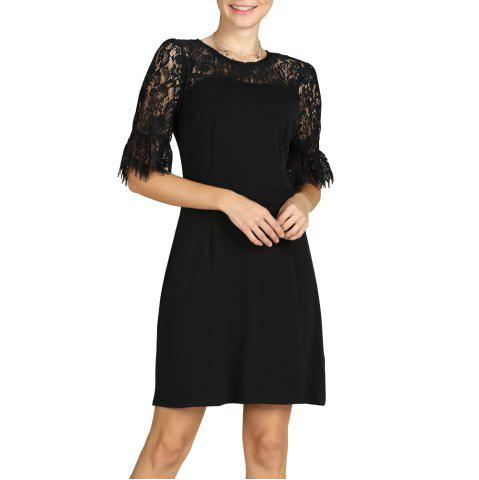 SBETRO Women Sheath Dress Black Lace Hollow out Puff Sleeve Office Party